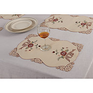 42 * 28cm flor vermelha bordado placemat dinner supply tableware