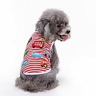 Cachorro Camiseta Colete Roupas para Cães Geométrico Vermelho Algodão Ocasiões Especiais Para animais de estimação Homens Mulheres Festa
