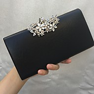 Women Bags All Seasons leatherette Evening Bag Crystal Detailing for Wedding Event/Party Formal Gold Black Silver