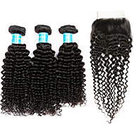Cabelo Humano Cabelo Peruviano Trama do cabelo com Encerramento Kinky Curly Extensões de cabelo 4 Preto