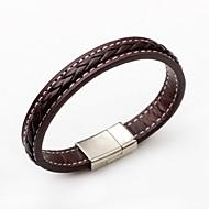 בגדי ריקוד נשים צמידי עור עור פאנק סגנון מינימליסטי אופנתי צמידים תכשיטים שחור / חום עבור קזו'אל