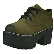 Women's Shoes PU Fall Winter Comfort Oxfords Creepers Round Toe Lace-up For Casual Army Green Black
