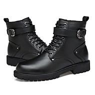 Masculino sapatos Pele Real Pele Napa Pele Inverno Botas de Neve Botas da Moda Botas de Moto Curta/Ankle Coturnos Forro de fluff Botas