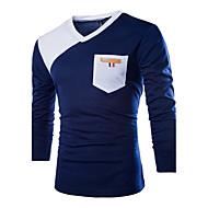 Bomull V-hals T-skjorte Herre - Fargeblokk BLå & Hvit Hvit L / Langermet / Sommer