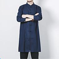 Veći konfekcijski brojevi Majica Muškarci - Vintage Kinezerije Jednobojni Kineski ovratnik Lan