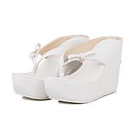 cheap Women's Sandals-Women's Shoes PU(Polyurethane) Summer / Fall Comfort / Novelty / Slingback Sandals Wedge Heel Cap-Toe Bowknot White / Black / Pink