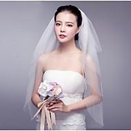 cheap Wedding Veils-Four-tier Cut Edge Lace Applique Edge Wedding Veil Blusher Veils Fingertip Veils 53 Ruffles Tulle