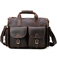 Unisex Bags All Seasons Cowhide Briefcase Pockets Zipper for Casual Office & Career Dark Brown