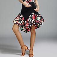 Dança Latina Tutos e Saias Mulheres Espetáculo Elastano Seda Sintética Estampa Natural Saias