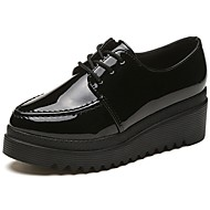 Women's Shoes PU Fall Comfort Oxfords Flat Heel Round Toe Lace-up For Casual Black