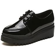 נשים נעליים PU סתיו נוחות נעלי אוקספורד עקב שטוח בוהן עגולה שרוכים עבור קזו'אל שחור