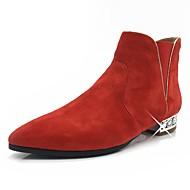 baratos Sapatos de Tamanho Pequeno-Mulheres Sapatos Pele Nobuck Outono / Inverno Botas da Moda / Curta / Ankle Botas Salto Baixo Dedo Apontado Botas Curtas / Ankle Pérolas