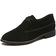 Women's Shoes Rubber Fall Comfort Oxfords Low Heel Pointed Toe Lace-up For Outdoor Khaki Black