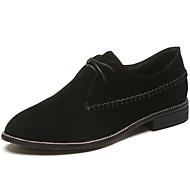 נשים נעליים גומי סתיו נוחות נעלי אוקספורד עקב נמוך בוהן פוינט שרוכים עבור שחור חאקי