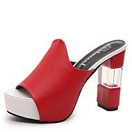 Damer Sandaler Komfort Sommer PU Gang Tyk hæl Hvid Sort Rød 2,5-4,5 cm