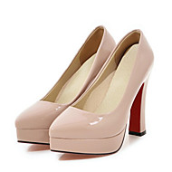 preiswerte Damen Heels-Damen Schuhe PU Frühling / Herbst Komfort / Neuheit High Heels Blockabsatz Spitze Zehe Schwarz / Beige / Mandelfarben / Hochzeit