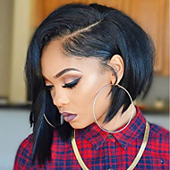 Women Human Hair Lace Wig Brazilian Human Hair Glueless Full Lace 130% Density Asymmetrical Haircut With Baby Hair Straight Wig Black