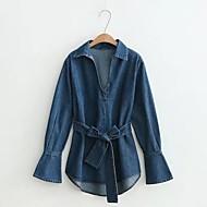 Feminino Jaqueta jeans Para Noite Casual Simples Primavera Outono,Sólido Padrão Outros Colarinho de Camisa Manga Longa
