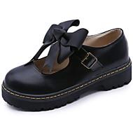 お買い得  レディースオックスフォードシューズ-女性用 靴 ラバー 秋 コンフォートシューズ オックスフォードシューズ フラットヒール ラウンドトウ 編み上げ のために アウトドア ブラック アーモンド