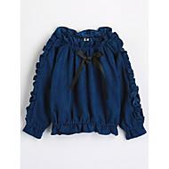 Djevojčice Pamuk Jednobojni Jesen Dugi rukav Majica Plava