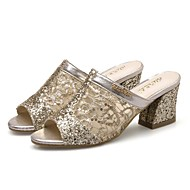 Femme Chaussures Polyuréthane Printemps Eté Nouveauté Sandales Gros Talon Bout ouvert Bout rond Paillette Creuse Pour Décontracté Habillé