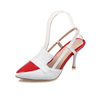 Női Cipő PU Tavasz Ősz Kényelmes Újdonság Hátsó pántos Magassarkúak Stiletto Erősített lábujj Csat Kompatibilitás Ruha Fehér Fekete Piros