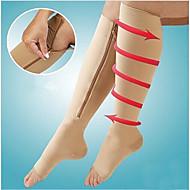 1pair Kompression Socken Reißverschluss Bein Unterstützung Knie Strümpfe offenen Zehe
