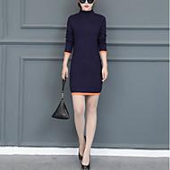 Feminino Tubinho Tricô Vestido,Casual Moda de Rua Sólido Gola Alta Acima do Joelho Manga Longa Algodão Elastano Outono Inverno Cintura