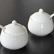 1 stk kjøkken keramiske kjøkken beholdere hvit porselen krydder potten
