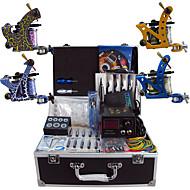 完全なタトゥーキット ライニングとシェーディングのために4×合金タトゥーマシン 4つ タトゥーマシン LCD電源 インクは別々に出荷します