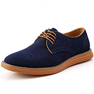 cheap Men's Oxfords-Men's Shoes Suede Winter Fall Comfort Oxfords Lace-up for Casual Outdoor Black Gray Coffee Blue Light Brown