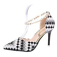 Feminino Sapatos Couro Ecológico Verão Conforto Saltos Salto Agulha Dedo Apontado Pregueado Para Casual Preto Fúcsia Amêndoa