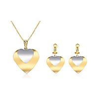 Mulheres Chapeado Dourado Coração Conjunto de jóias Brincos Colares - Importante Fashion Coração Brincos Compridos Colar Para Casamento