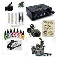 cheap Starter Tattoo Kits-Tattoo Machine Starter Kit 1 alloy machine liner & shader LED power supply 5 x disposable grip 5 pcs Tattoo Needles