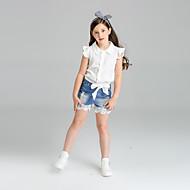 Pige Indstiller Ensfarvet,Bomuld Sommer Kortærmet Tøjsæt