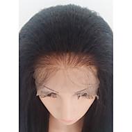 Ekte hår Halvblonder uten lim Blonde Forside Parykk stil Brasiliansk hår Kinky Glatt Parykk 130% Hair Tetthet med baby hår Afroamerikansk parykk 100 % håndknyttet Dame Medium Lengde Blondeparykker