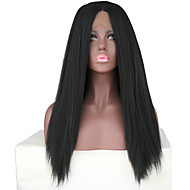 Prednja perika od sintetičkog čipke Yaki Srednji dio Prirodna linija za kosu Crna Žene Lace Front Prirodna perika Dug Sintentička kosa