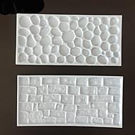 2 stk fondant indtryksmatte sæt sten væg design sugarcraft dekorationsværktøj (farve tilfældigt)