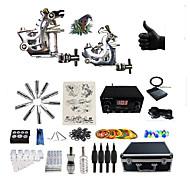 billiga Tatuering och body art-BaseKey Tattoo Machine Professionell Tattoo Kit, 2 pcs Tatueringsmaskiner - 2 x stål tatueringsmaskin för linjer och skuggning