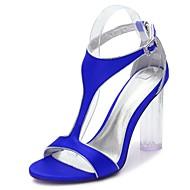 baratos Sapatos Femininos-Mulheres Sapatos Cetim Primavera / Verão Tira em T / Plataforma Básica / Tira no Tornozelo Sandálias Salto Robusto / Heel translúcido /