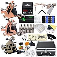baratos kits profissionais do tatuagem-Máquina de tatuagem Kit de tatuagem profissional - 3 pcs máquinas de tatuagem, Profissional LCD de alimentação 3xMáquina Tatuagem de aço para linhas e sombras