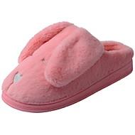 Kadın Ayakkabı Kadife Kış Kürk Astar Kabarık astar Terlik & Flip-flops Alçak Topuk Yuvarlak Uçlu Pom pom Uyumluluk Günlük Açık Mor Pembe