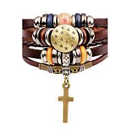 Bracelets en cuir Femme Cuir Croix Etoile dames Mode Bracelet Bijoux Marron pour Scène Plein Air