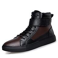 メンズ 靴 本革 ナパ革 レザー 冬 ファッションブーツ ブーティー ダイビングシューズ スニーカー ブーティー/アンクルブーツ 編み上げ 用途 カジュアル ブラック バーガンディー