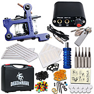 billige Tatoveringssett for nybegynnere-Tattoo Machine Startkit - 1 pcs tattoo maskiner med 1 x 5 ml tatovering blekk Mini strømforsyning 1 x legering tatovering maskin for fôr og skyggelegging