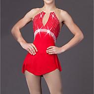 Vestidos para Patinação Artística Mulheres Para Meninas Vestidos de Patinação no Gelo Vermelho Tactel Elasticidade Alta Clássico Moderno