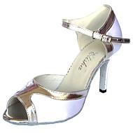 baratos Sapatilhas de Dança-Mulheres Sapatos de Dança Latina Cetim Sandália Salto Personalizado Sapatos de Dança Branco / Branco / Prata / Interior
