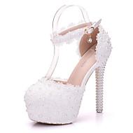baratos Sapatos de Noiva-Feminino Sapatos Couro Ecológico Primavera Outono Conforto Inovador Sapatos De Casamento Salto Agulha Ponta Redonda Apliques Pérolas