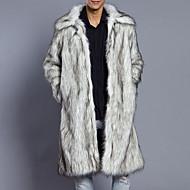 Masculino Casaco de Pêlo Casual Tamanhos Grandes Simples Outono Inverno,Sólido Longo Pêlo Sintético Colarinho de Camisa Manga Longa