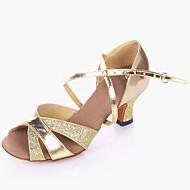 baratos Sapatilhas de Dança-Mulheres Sapatos de Dança Latina Pele PVC / Couro Sintético Salto Salto Cubano Sapatos de Dança Dourado / Prata / Ensaio / Prática